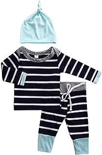 ggudd Niño Bebé Estampado Trajes Camisa de Entrenamiento Tops y Pantalones y Sombrero A Rayas Juegos de Ropa