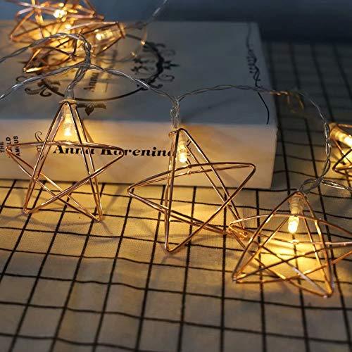 MILASIA Rosé Gold Metall Laternen Lichterkette, Geometrische Deko Pyramidenform Eisen Batterie Lampe 3M /20LED für Kinderzimmer Innen Wohnzimmer Weihnachten Halloween (Pentagramm)