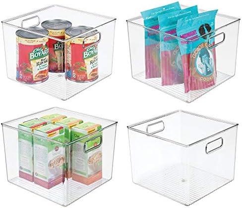 "mDesign Plastic Kitchen Pantry Cabinet, Refrigerator or Freezer Food Storage Bins with Handles - Organizer for Fruit, Yogurt, Snacks, Pasta - Food Safe, BPA Free, 10"" Long - 4 Pack, Clear"
