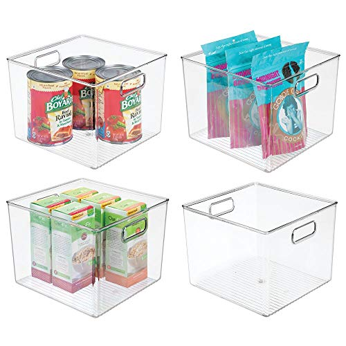 mDesign Plastic Food Storage Container Bin with Handles - for Kitchen, Pantry, Cabinet, Fridge/Freezer - Large Organizer for Snacks, Produce, Vegetables, Pasta - BPA Free, 10' Square, 4 Pack - Clear