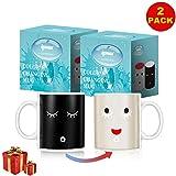 IPOW Color Changing Mug 2 Pack Magic Mug Heat Changing Mugs For Morning Coffee Tea Milk Ceramic Coffee Mugs Heat Sensitive Mug for All Holliday Special Day Best Gift Choice 12 Oz