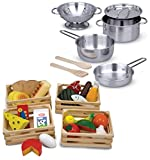 Bundle Includes 2 Items - Melissa & Doug Stainless Steel Pots and Pans Pretend Play Kitchen Set for Kids (8 pcs) and Melissa & Doug Food Groups - 21 Hand-Painted Wooden Pieces and 4 Crates