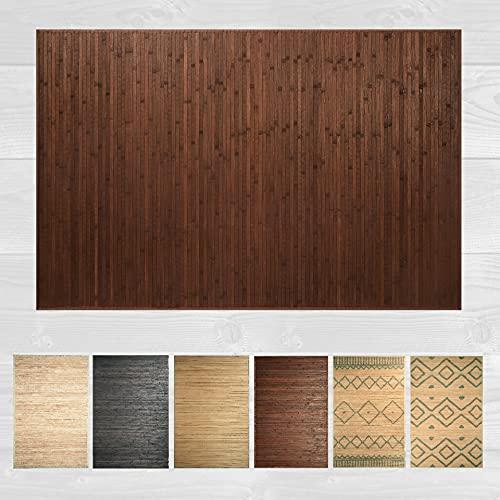 LucaHome – Alfombra bambú Uganda Ideal para Interior o Exterior, Alfombra bambú para Cocina, salón, despacho, Dormitorio con Cenefa, Alfombra de bambú Antideslizante (Chocolate, 120x180cm)
