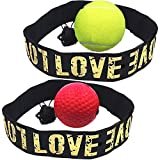 2pcs Boxen Training Ball, Reflex Fightball, Speed Fitness Punch Boxing Ball mit Kopfband, Trainingsgerät Speedball für Boxtraining Zuhause und Outdoor (Gelb, Rot)