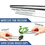 2 Pcs Straight and Curved Tip Tweezers 12 Inch, Stainless Steel Precision Tweezers Set with Serrated Tips Comfortable… 13 MULTIPURPOSE TWEEZERS – Our stainless steel tweezer comes in a set of 2, straight and curved tweezers, with different shapes eases your life, as cooking tweezer and especially for water plant decorations. Our craft tweezers with delicate clip end will not harm your small or thin water plants. SUPER SECURE - Our straight and curved tweezers have serrated tips to help grip stuff securely without ever slipping off. The ridged handle also provides secure, comfortable grips on your fingers. Our pointed tweezers is strong and not easily bent! PREMIUM STAINLESS STEEL - Imagine. A Heavy duty forceps, long-lasting stainless steel tweezer that could withstand extreme heat, as well as rust and corrosion-free. Our cooking tweezers is dishwasher safe! Use it as needle nose tweezers, electrical repairing, cooking, serving, crafting, and many more.
