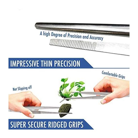 2 Pcs Straight and Curved Tip Tweezers 12 Inch, Stainless Steel Precision Tweezers Set with Serrated Tips Comfortable… 6 MULTIPURPOSE TWEEZERS – Our stainless steel tweezer comes in a set of 2, straight and curved tweezers, with different shapes eases your life, as cooking tweezer and especially for water plant decorations. Our craft tweezers with delicate clip end will not harm your small or thin water plants. SUPER SECURE - Our straight and curved tweezers have serrated tips to help grip stuff securely without ever slipping off. The ridged handle also provides secure, comfortable grips on your fingers. Our pointed tweezers is strong and not easily bent! PREMIUM STAINLESS STEEL - Imagine. A Heavy duty forceps, long-lasting stainless steel tweezer that could withstand extreme heat, as well as rust and corrosion-free. Our cooking tweezers is dishwasher safe! Use it as needle nose tweezers, electrical repairing, cooking, serving, crafting, and many more.