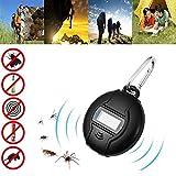 Repelente Ultrasonico, Portátil Repelente Mosquitos Control de Plagas USB y energía Solar 2 en 1 de Carga Repelente Cucarachas Insectos Antimosquitos Repelente Insectos con Brújula y Mosquetón