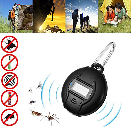Repellente Ultrasuoni, Portatile Anti Zanzare Efficace Professionale Repellente Zanzare Carica USB e Solar Power 2 in 1 Repellente Insetti All'aperto/interno Contro Zanzare con Bussola e Moschettone