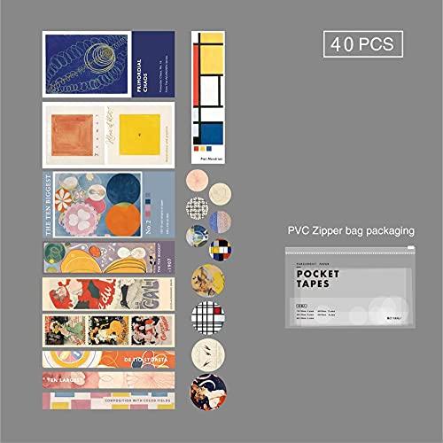 PMSMT Mr.Papel 4 diseños 40 unids/Lote Gafas Vintage, Cinta de Bolsillo Simple, Cinta Adhesiva para álbumes de Recortes, Diario de Balas, Deco