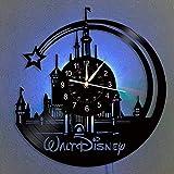 Smotly Orologio da Parete in Vinile, LED Topolino Vintage Hanging Orologio da Parete Notte 7 Colori, Fumetto Disney Orologio di Compleanno Regali Fatti a Mano della Decorazione (Gancio Regalo)