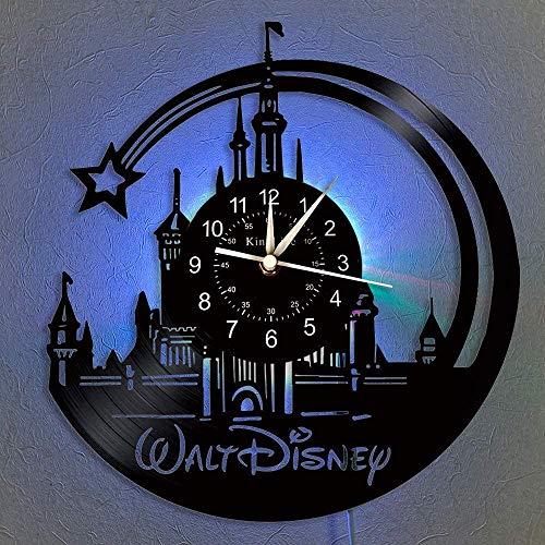 Smotly Vinyl-Wanduhr, Mickey Mouse Vintage Clock LED hängende Nachttischlampe 7 Farbe Wanduhr, Cartoon Uhr Disney-Geschenke Geburtstags-Geschenke handgemachte Hauptwanddekor,A,with Light
