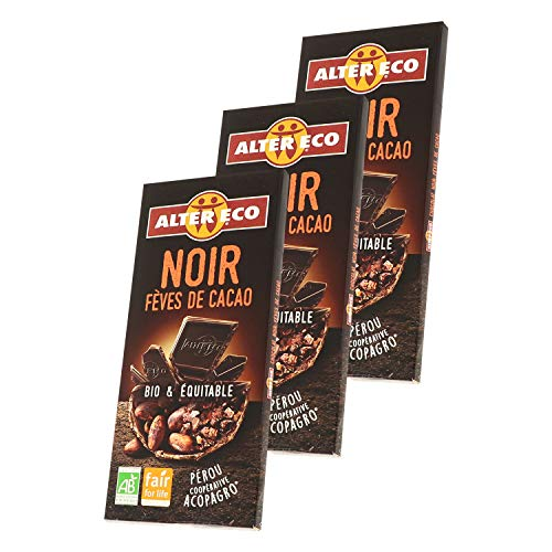 Alter Eco Chocolat Noir Fèves de Cacao Bio & Équitable – Intense & Fruité – 100 g - Lot de 3