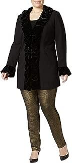 INC Womens Plus Fall Velvet Velvet Jacket Black 2X