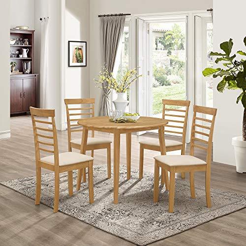 Hallowood Ledbury Small Solid Wooden Drop Leaf Round Dining Table and 4 Chairs Set, Rubberwood, Light Oak Finish, LEB-RTAB920-SET(4)-L