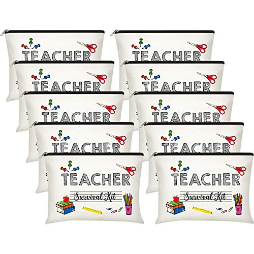 10 Pieces Teacher Makeup Bags Teacher Appreciation Gifts Teacher Cosmetic Pouch Pencil Bag Teacher Travel Toiletry Case with Zipper for Women Girl (Teacher Survival Kit)