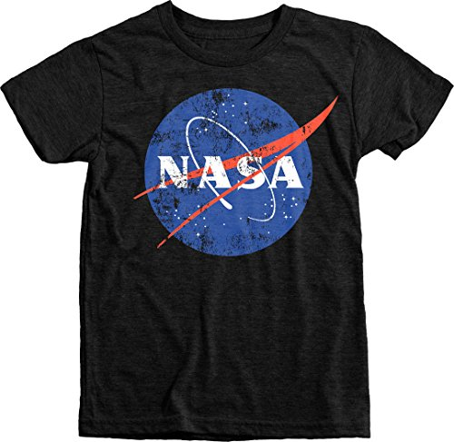 Trunk Candy Kids NASA Space Program Distressed Meatball Logo Tri-Blend T-Shirt (Vintage Black, L(10/12)) Distressed Logo Kids T-shirt