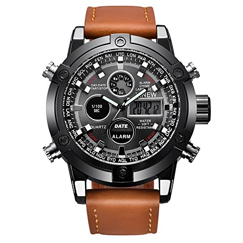 Hffan Uhren Herren Schwarz Edelstahl Mesh Band Chronograph Quarz Uhr Männer Datum Kalender Wasserdicht Multifunktions Armbanduhr Mesh Metall-Armband