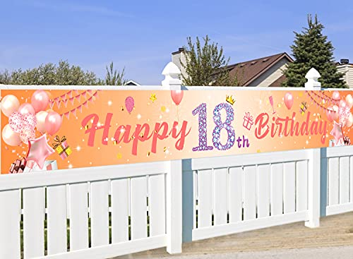 Decoracion Cumpleaños 18 años, Oro Rosa Decoración de 18 Cumpleaños Niña, Photocall 18 Cumpleaños, Regalo 18 años, Pancarta de Fondo de 18 Aniversario, para Jardín Mesa Pared Decoración