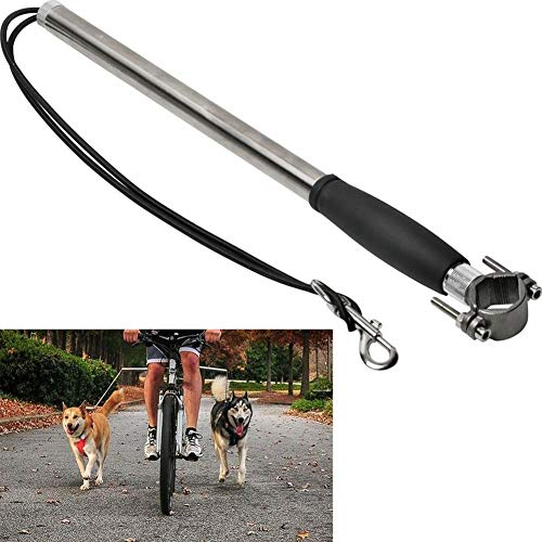 Renococo Bike Dog Plus Hands Free Leash, Stainless Steel Dog Bicycle Exerciser Leash 2019 Newest Model Built-in Buffer Spring - Soft & Easy Pull Tug Free Control from Small to Large Dogs