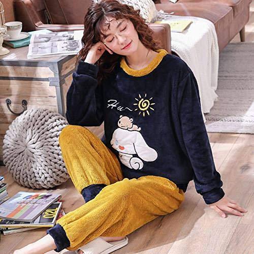 WDDYYBF Pijamas Mujer,Manga Larga Caliente Franela Pijama Invierno Mujeres Pajama Juegos Animal Cerdo Impresión Espesa Pijama Pijama De Pijama Más Tamaño Pijama Pijama, L