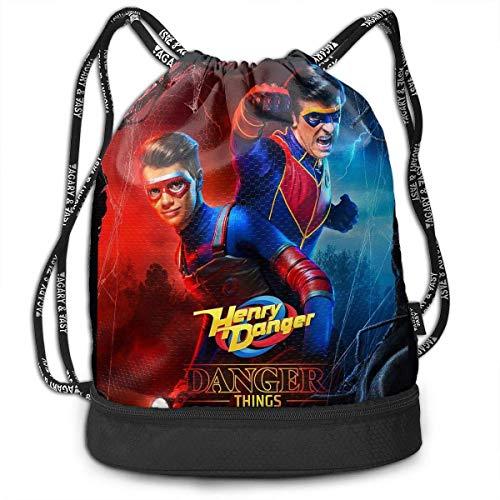 FShopNow Sac à Dos à Cordon Drawstring Bag Shoulder Rope Bag Storage Protable Backpack Stuff Sack Outdoor Bag Sport Draw Pocket Handbag, Danger TV Show of Henry