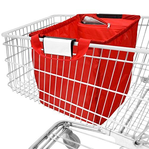 achilles Easy-Cooler Faltbare Einkaufswagentasche mit Kühleinsatz Einkaufstasche passend für alle gängigen Einkaufswagen Shopper Tragetasche Falttasche Kühltasche Rot 54x35x39 cm