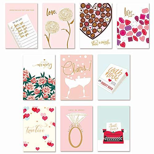 moin moin メッセージ カード バレンタイン ハート 赤 ピンク LOVE 愛 チョコレート 恋人 友達にも   チョコ バラ ローズ   柄 おしゃれ 箔押し 高級感 大容量 (本体 + 封筒10種セット) 2008me129