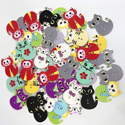 SUPVOX 50pcs 2 Agujeros Botones de Madera con Forma de Gato para Scrapbooking Costura DIY artesanía Adorno Hecho a Mano (Color Surtido)