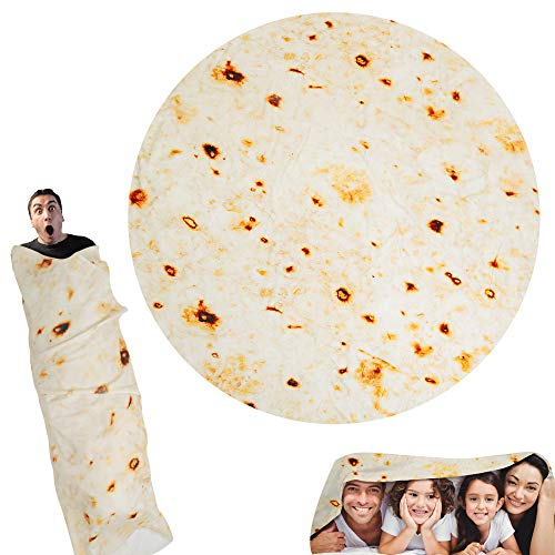 Lhedon Burritos Blanket for Adult and Kids,Comfortable Novelty Round Food Tortilla Throw Blanket, Wearable Fashionable Flannel Blanket, Super Soft Taco Blanket for Bed, Couch or Travel, Diam 71 Inch