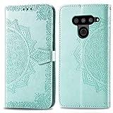 Bear Village Hülle für LG V50 ThinQ, PU Lederhülle Handyhülle für LG V50 ThinQ, Brieftasche Kratzfestes Magnet Handytasche mit Kartenfach, Grün
