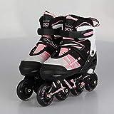 Rollerblade Child Girl Light Ruedas LED Todo en Patines en línea de tamaño Ajustable ABEC 7 Carbon para niños Niña en Mujer y Hombre