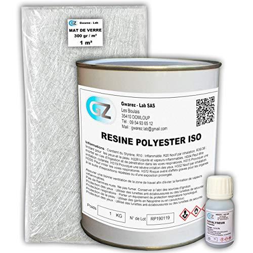 Résine Polyester 1 Kg + 1 m² tissu de...