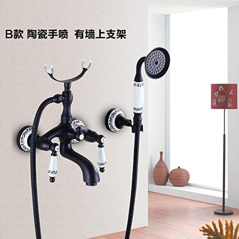 MangeooAlle Kupfer im Europischen Stil schwarze Badewanne, antike Badewanne, Dusche Dusche, warmes und kaltes Wasserhahn, B