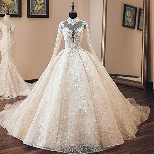 Brautkleid Tüll Spitze Sexy Hochzeitskleid Perlen Spitze Brautkleid Boho Hochzeitskleid Langarm Glänzend Hoher Hals Robe Offener Rücken (Farbe: Weiß, US-Größe: 18W)