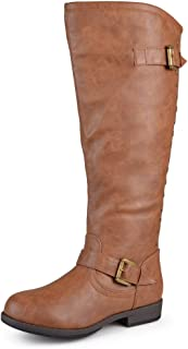 Journee Collection Womens Regular Sized, Wide-Calf and Extra Wide-Calf Studded Knee-High Riding Boots Chestnut, 9.5 Extra ...