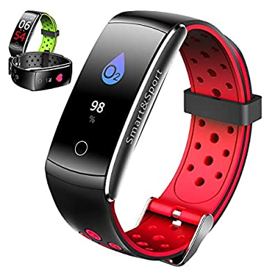 Fitness Tracker HR,Activity Tracker Heart Rate Monitor Watch with Sleep Health Step Monitor,Calorie Counter Fitness Watches for Men Women,Alarm Clock IP68 Kids Fitness Tracker for Girls (RED, oen)