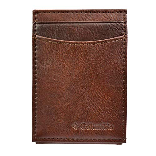 Columbia Men's Leather Front Pocket Wallet Card Holder for Travel, Tan Piedmont, One Size