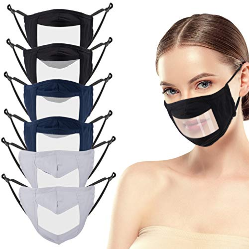 6 Pcs Anti Fog Face Covering with Clear Window- Cotton Anti-dust Mouth Guard Reusable Unisex Mouth Face Covers Outdoor Facial Protection Visible Expression for The Deaf and Hard of Hearing