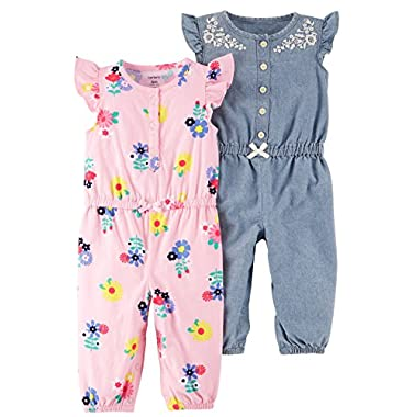 Carter's Baby Girls' 2-Pack One Piece Romper, Pink Floral/Chambray, 3 Months