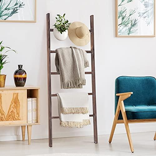 RHF 48' Wood Blanket Ladder, Decorative Ladder Shelf, Leaning Shelf, Ladder for Bedroom Living Room Bathroom, Rustic Farmhouse Wooded Ladder, Brown