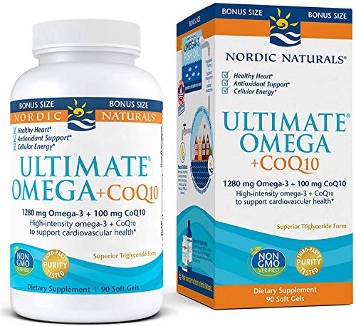 Nordic Naturals Ultimate Omega + CoQ10, Lemon - 60 Soft Gels - 1280 mg Omega-3 + 100 mg CoQ10 - Heart Health, Cellular Energy, Antioxidant Support - Non-GMO - 30 Servings