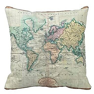 Colorful World Map Cotton Linen Throw Pillow Case Cushion Cover Home Sofa Decorative 18 X 18 Inch (3)