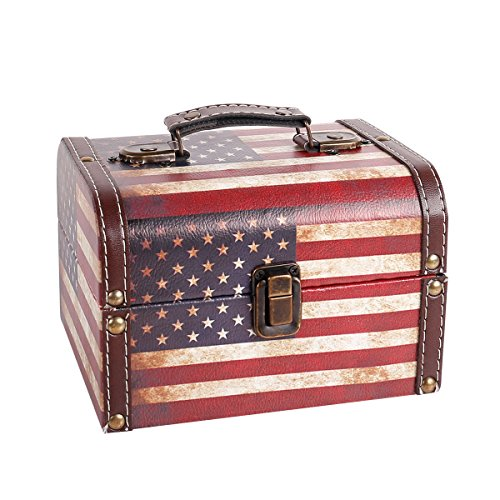 WaaHome Decorative Wooden Treasure Box Vintage American Flag Jewelry Keepsake Boxes For Gifts Home Decorations (7.1LX5.6WX4.7H)