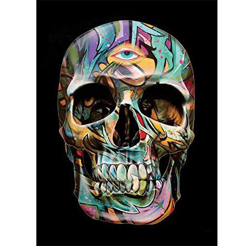 Kit de pintura de diamantes para adultos Skull, cuadros en punto de cruz con diamantes de imitación para manualidades arte de pared de cristal para sala de estar, 30 x 40 cm