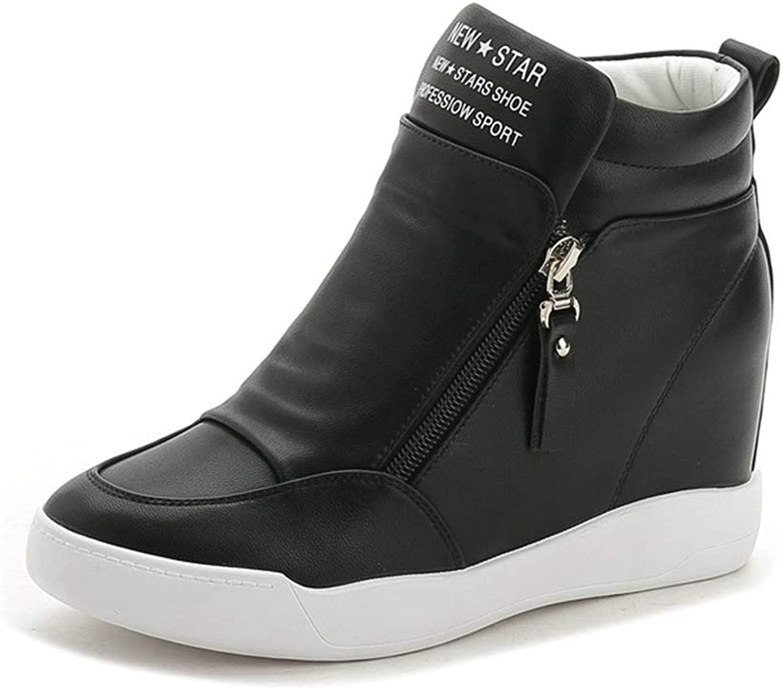 ASO-SLING Women's Hidden Heel Wedges Sneakers Platform Boots Waterproof Round Toe Leisure Walking shoes
