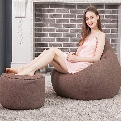 TKFY High Back Bean Bag Wool Hemp Bean Bag Chair Foothocker Collocation is More Comfortable Indoor and Outdoor Lounge Sofa Adult Children Garden Garden Living Room Chair 80CM*100CM,Brown