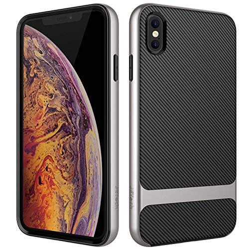 JETech Cover Compatibile iPhone XS e iPhone X, Custodia con Assorbimento degli Urti e Fibra di Carbonio, Grigio