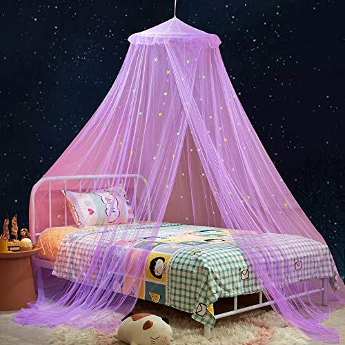 Mengersi Bed Canopy for Kids with Glow in The Dark Stars for Toddler Crib Bed Play Tent for Girls Room Decor,Canopy Bed Curtains to Cover Baby Crib Mosquito Net for Camping Home &Travel Use,Purple