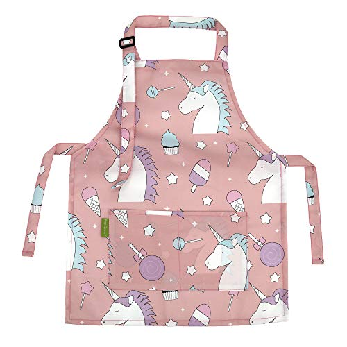 BeeGreen Adorable Aprons with Adjustable Strap for Kids Kitchen Art Chef Smock with Front Pocket Unisex Apron for 3-8 Years Boy and Girls Cooking Painting Baking, Unicorn New York