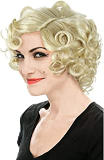 HUALIL Short Blonde Curly Hair Women Adult Loose Wavy Classic Marilyn Monroe Cosplay Wigs with Free Cap
